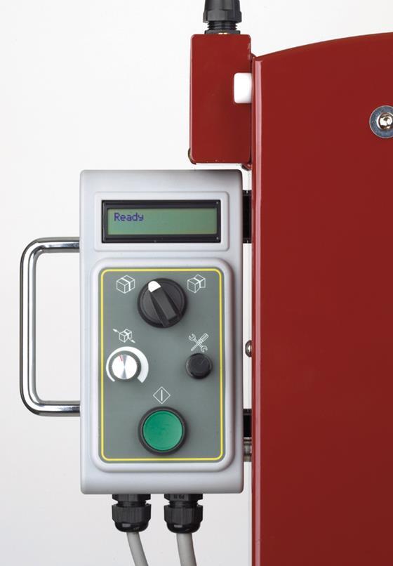 pivoting control panel strapping machine